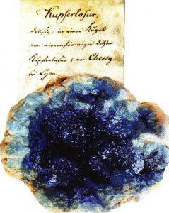 Abb. 1: Azurit (Kupferlasur) aus Chessy bei Lyon aus der Sammlung der Gräfin KIELMANNSEGGE (Foto: I. ZACHOW)