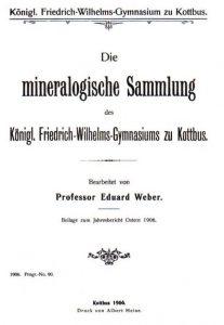 Titelblatt des Katalogs der mineralogischen Sammlung des Friedrich-Wilhelms-Gymnasiums
