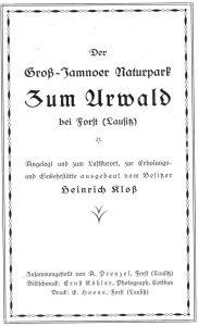 Titel einer Druckschrift um 1927