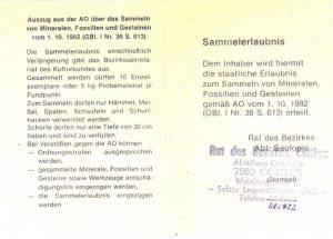 Sammelerlaubnis, aufgeklappte Vorderansicht. Sammlung Dr. D. Schwarz.