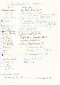Unterschriftsliste vom 13. November 1976. Sammlung K. Schmidt.